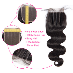 Image 2 - Gabrielle Remy Hair 5x5 Lace Closure Brazilian Body Wave Hair Natural Color 8 Inch Human Hair Free/Middle/Three Part Closure