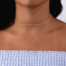 Tiny Hammer Hanging Disc Choker Necklaces, Silver or Gold Filled Layering Simple Collar Necklace,