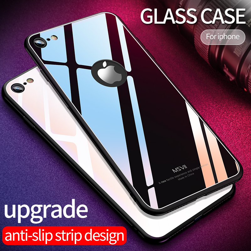 Msvii for iPhone 6s Case Silicone 6 7 8 X 10 Tempered Glass Case for iphone 6 7 8 Plus X Logo Reveal for Apple Black Back Cover