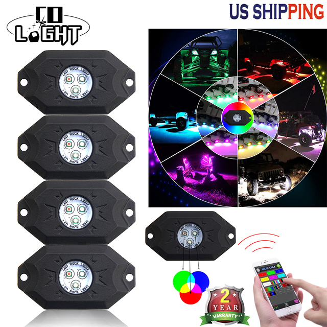 CO LIGHT 4 Pods RGB Running Lights with Bluetooth Controller Remote Multicolor Neon LED Light Kit for Timing Music Mode Flashing
