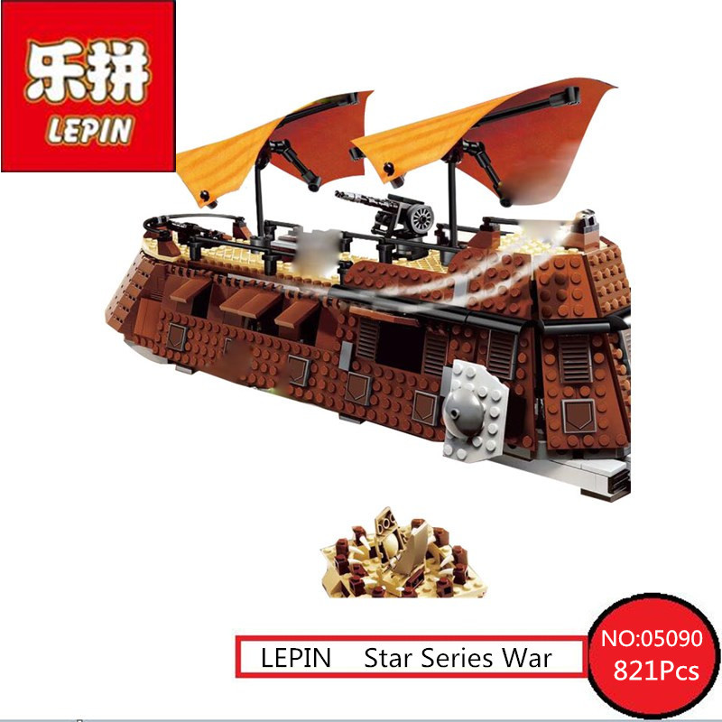 821Pcs 05090 Lepin Genuine Star Series War The Jabba's Sail Barge Set Children Educational Building Blocks Bricks Toy Model 6210 rollercoasters the war of the worlds