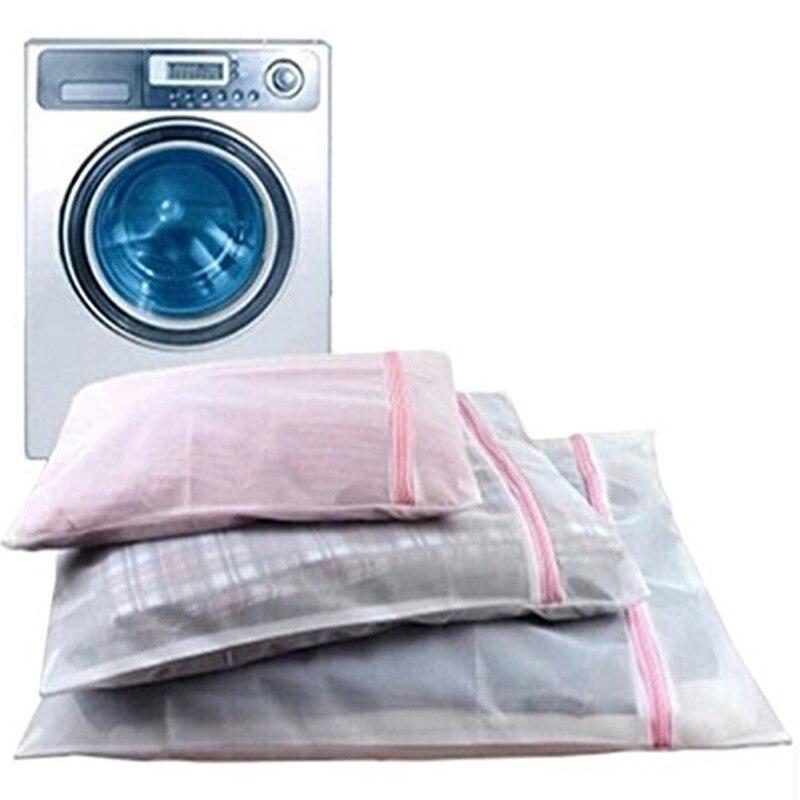 3 Sizes Mesh Zippered Laundry Wash Bag For Blouse, Hosiery, Stocking, Underwear, Bra And Lingerie, Travel Laundry Bag