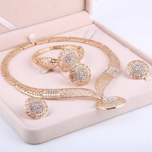 MINHIN Women Delicate Gold Bridal Jewelry Sets Rhinestone Pendant Collar Bracelet Crystal Earrings Rings Wedding Accessories 1