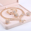 Women Delicate Gold Plated Bridal Jewelry Sets Rhinestone Pendant Collar Bracelet Crystal Earrings Rings Wedding Accessories