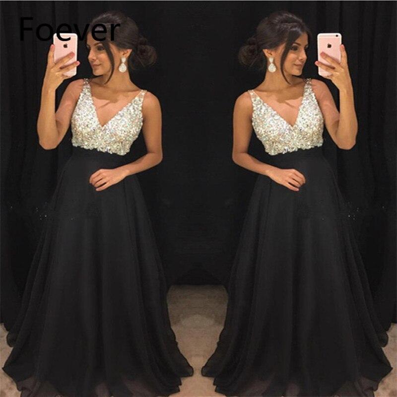 Sexy V Neck Evening Dresses Long 2019 vestidos de fiesta de noche Beaded Crystal abendkleider Special Occasion Formal Party Gown