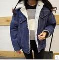 Cachemira Gruesa de Invierno Denim Jean Jacket Women Escudo Bombardero Chaqueta Para Mujer Vaqueros Jaqueta Veste En Jean Abrigos Mujer Abrigos