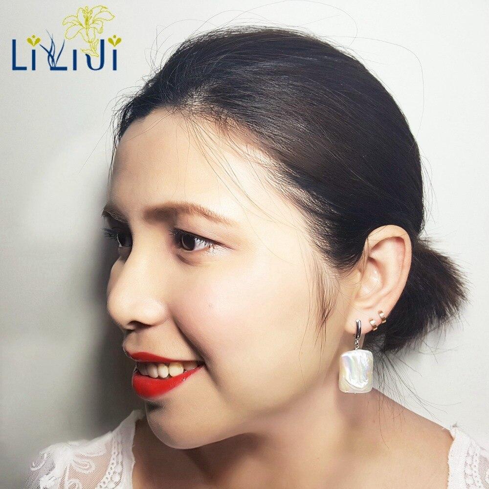 Lii Ji Réel Grand Arc-En-Place Baroque Perle 925 Sterling Argent 18 k Or Plaqué Boucles D'oreilles