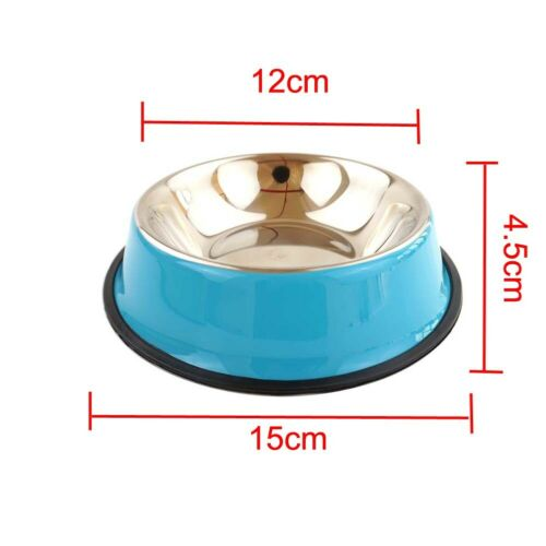 Pet Dog Bowl Cat Food Anti Skid Stainless Steel Water Food Container Kitten Dish Bowl Pure Solid Color Feeder Puppy Feeding Tool