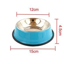 Pet Dog Bowl Cat Food Anti Skid Stainless Steel Water Food Container Kitten Dish Bowl Pure Solid Color Feeder Puppy Feeding Tool new dog cat bowls stainless steel food bowl travel feeding feeder water bowl anti skid dry food pet bowl drinking water dish