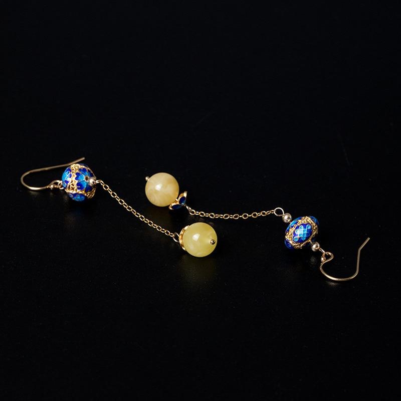 Uglyless 14K or émail boules Vintage Palace boucles d'oreilles pour femmes luxe ambre boules balancent boucles d'oreilles exotiques longues boucles d'oreilles ethnique - 5
