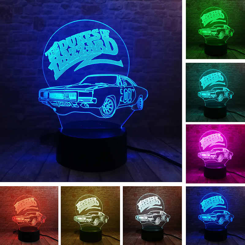 Brinquedos Modelo de Carro 3D Nightlight Luminous The Dukes of Hazzard Ilusão Visual LED Coloridos Luz Brilham no Escuro Ação figura