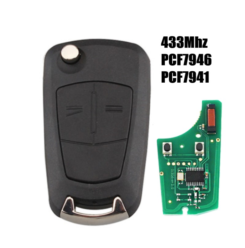 2Buttons PCF7941/PCF7946 Chip Car Remote Key For Vauxhall <font><b>Opel</b></font> Astra H Zafira B 2005 2006 2007 <font><b>2008</b></font> 2009 2010 433Mhz key image