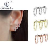 Slovecabin 925 Sterling Silver Single Mara Triple Tepat Emas Manset Telinga Hoop Anting-Anting Klip Lingkaran Wanita Loop Penutup Kuping Wanita Perhiasan(China)