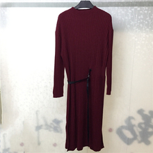 2019 Autumn Women Dress Long Sleeve Knitted Casual Solid Color Ladies Dresses