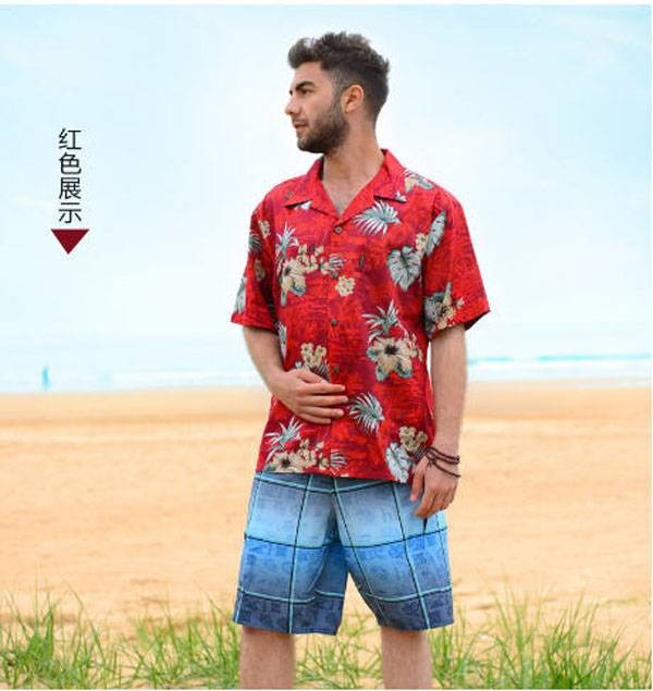 0a83cca6f8 Lovers Casual Hawaiian Leisure Print Loose Shirt Men & Women Cotton ...