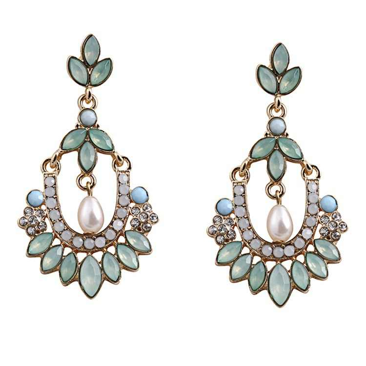 Fashion Vintage Big Crystal Flower Water Drop Earring for Women Rhinestones Earrings Best Friends Gift Statement Jewelry