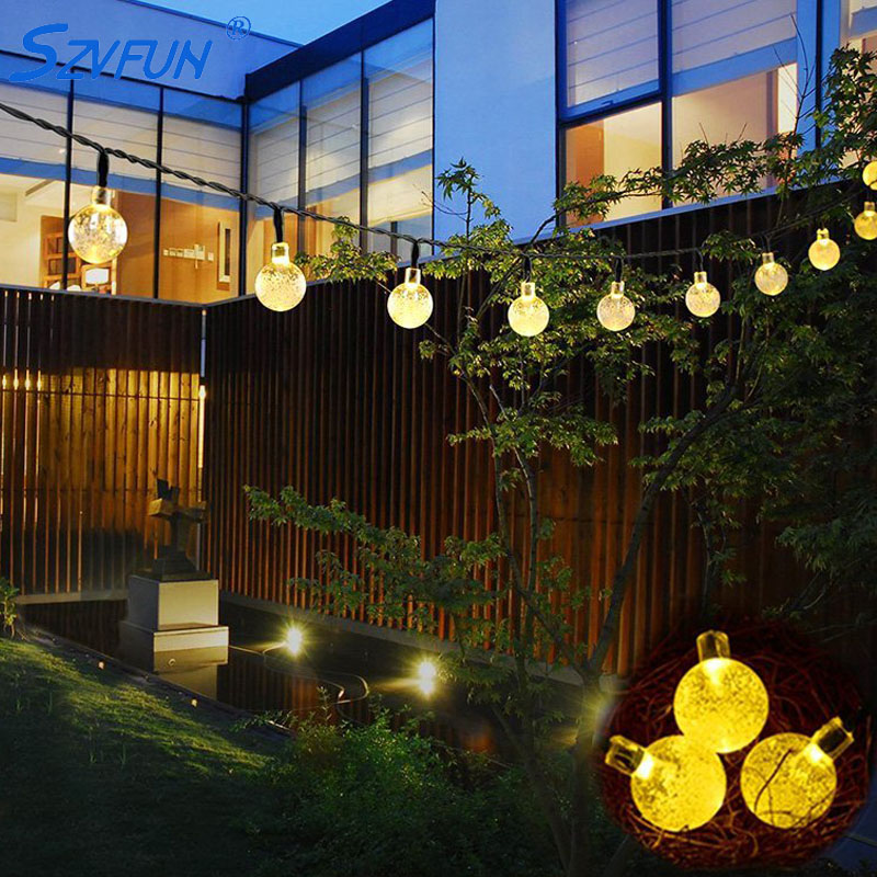 Szvfun Garden Solar Light Outdoor 6M 30 LED String Lights Crystal Light Balls Festoon Light Bulb