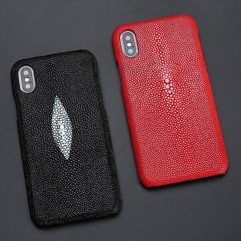 Cas de téléphone Pour iPhone X XS Max 6 6 s 7 8 Plus Thai Perle poisson Galuchat Dasyatis akajei Retour couverture Belle brillant de pierres précieuses