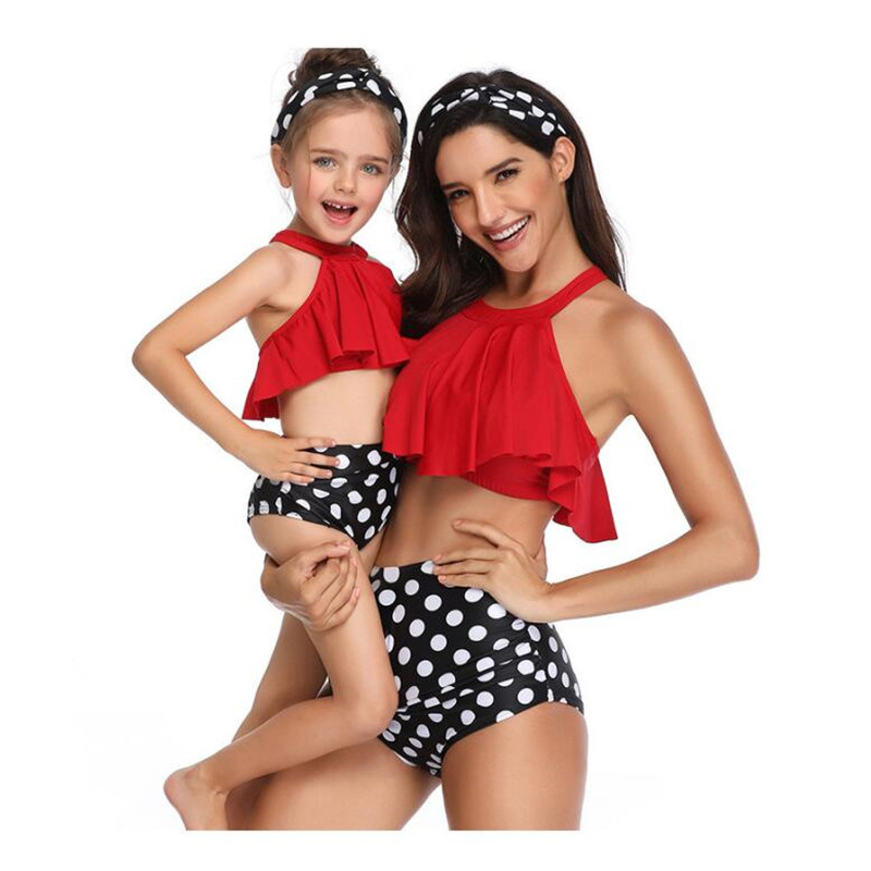 2019 Summer Family Matching Outfits Swimwear Mother Daughter Printed Dots Swimsuit Bikini Bathing Suit Flounce Design Swimwear