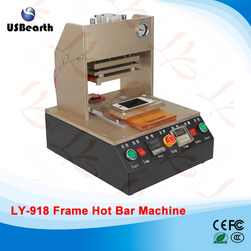 LY 918 built-in air compressor,auto apple mobile frame hot bar machine hot bar station, free tax to EU semi auto lcd repair machine ly 948v 3 oca pack c for 7 inch free tax to europe