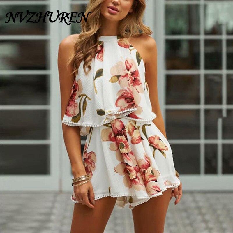 NVZHUREN Halter Neck Fashion Women Jumpsuit Summer Brief Design White Lace Rompers Lace  ...