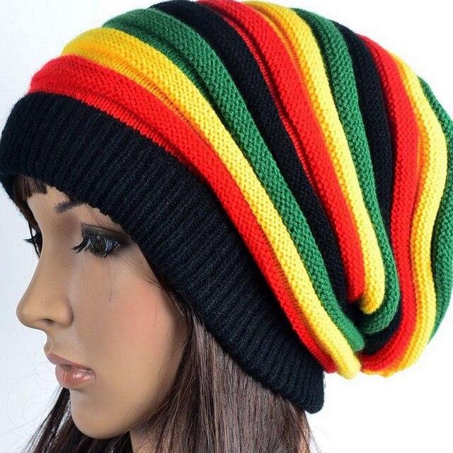 2d48be6398a Hat Female Jamaica Reggae Cap Skullies   Beanies Color Hat Striped Wool  Tank Long Rainbow Knit Hood Cap for Women