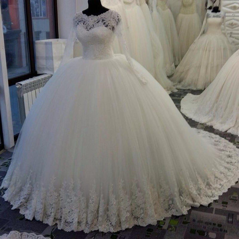 Wedding Dress Ball Gown Style: High Quality Ball Gown Long Sleeve Lace White Bohemian