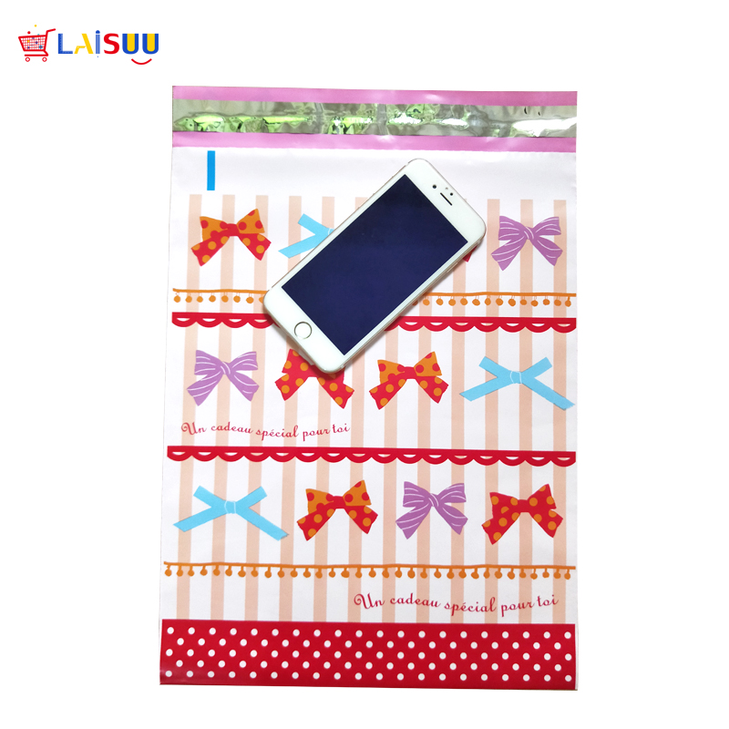 100 pcs 26x33cm 10x13 inch Cute Pink Bow Pattern Poly Mailers Self Seal Plastic Envelope Bags Gift Mailing Bags in Paper Envelopes from Office School Supplies