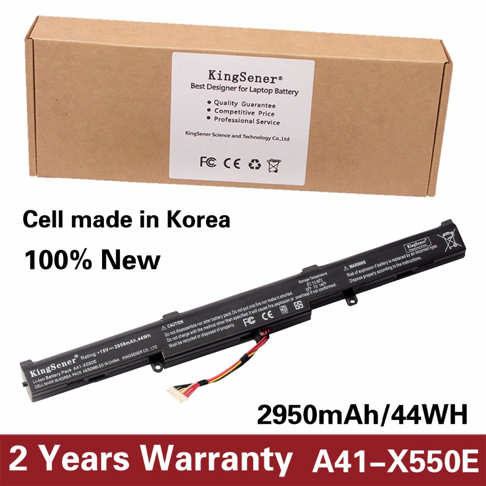 KingSener Korea Cell New Laptop Battery A41-X550E for ASUS X450 X450E X450J X450JF X751L A450J A450JF A450E F450E 15V 2950mAh 11 1v 97wh korea cell new m5y0x laptop battery for dell latitude e6420 e6520 e5420 e5520 e6430 71r31 nhxvw t54fj 9cell