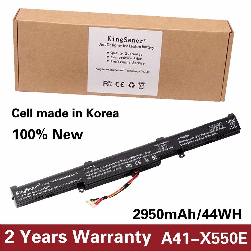 KingSener Korea Cell New Laptop Battery A41-X550E for ASUS X450 X450E X450J X450JF X751L A450J A450JF A450E F450E 15V 2950mAh kingsener japanese cell new 191yn laptop battery for dell alienware 15 r1 15 r2 191yn 14 8v 92wh free 2 years warranty