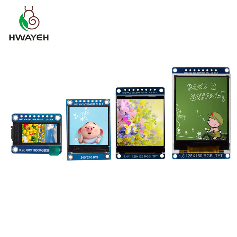 HWAYEH TFT Display 0.96 / 1.3 inch 1.44 1.8 inch IPS 7P SPI HD 65K Full Color LCD Module ST7735 / ST7789 Drive IC 80*160 240*240 image
