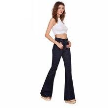 Высокая талия старинные bell bottom брюки sexy глубокий черный повседневная широкого покроя штаны элегантный кнопка карман flare джинсы для оптовой продажи