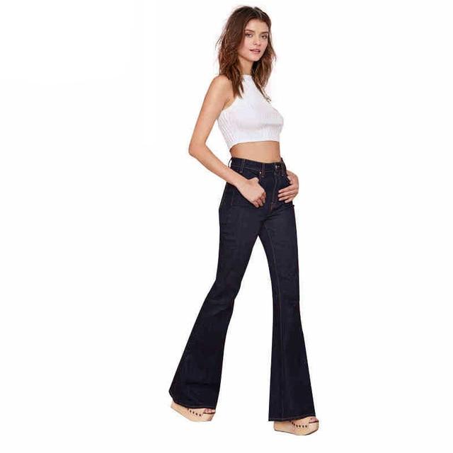a25f1673f9d335 High Waist Vintage Bell Bottom Pants Sexy Deep Black Casual Wide Leg Pants  Elegant Pocket Button