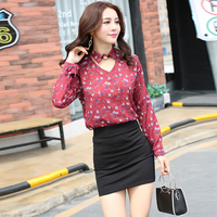 Casual Vintage Women Shirts Full Sleeve Chiffon Print Tailored Collar Blouse Shirt Black White Red Suit