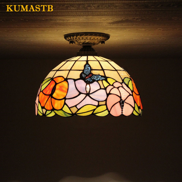 Flowers Shape Ceiling Light European Vintage Stained Glass Lamp For Bedroom Dining  Room Light Fixture Glass