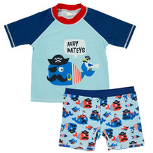 Funfeliz Boys Swimwear Two Pieces Children Surf Swimsuit Baby Boy Swimming Trunks Short Sleeve Kids Cartoon 1-6 Years