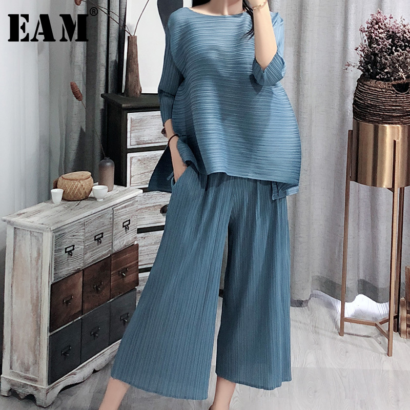 [EAM] 2020 New Spring Vintage O Collar Loose Three Quarter Sleeve Tops Full Length Pants Suit Summer Women Fashion Tide OA979