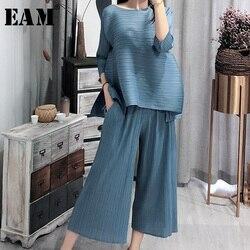 [EAM] 2020 nouveau printemps Vintage O col ample trois quarts manches hauts pleine longueur pantalon costume été femmes mode marée OA979