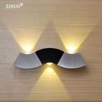ZINUO Modern Up And Down Led Wall Lamp 3W White Light Fixtures AC85 265V Wave Simple