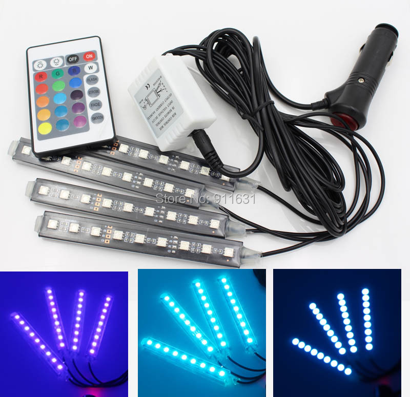 4 x 9 led rgb full color interior car under dash foot seat inside light remote control. Black Bedroom Furniture Sets. Home Design Ideas
