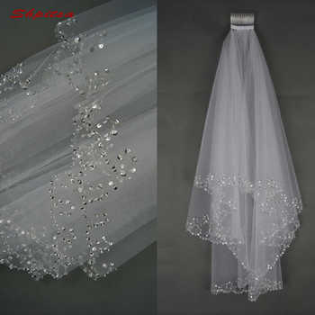 White or Ivory Short Wedding Veil with Crystal Edge with Comb 2 Beaded Bride Bridal Veils - DISCOUNT ITEM  10% OFF All Category
