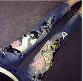 on sale hot selling  diamond Simpson letter pig cartoon wings Stretch Jeans women pencil jeans