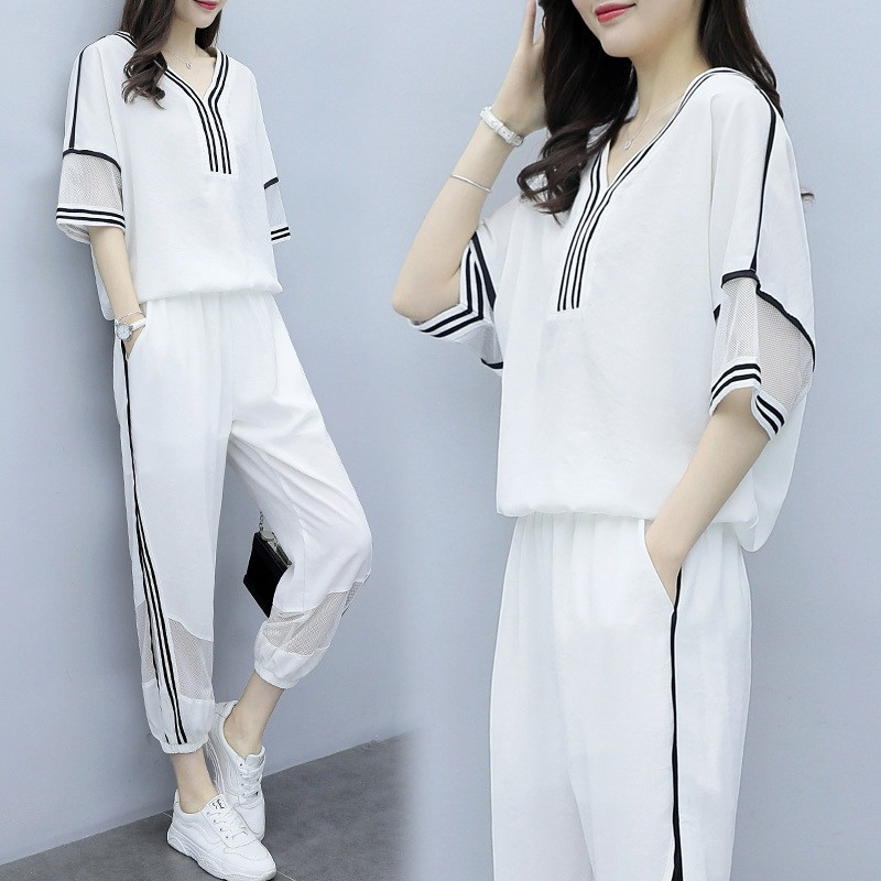 Summer White Casual Sports Suit Female Korean Loose Slimming Fashion Two Sets Of Tide Summer Suits For Women Set Plus Size S-3XL