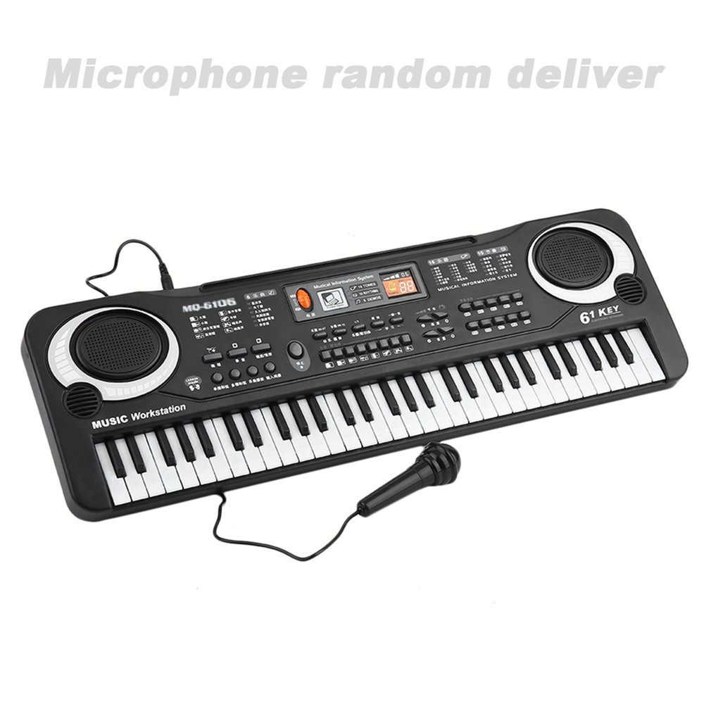 61-key Music Keyboard Microphone with Microphone For Children's Musical Instrument Electronic Organ Keyboard все цены