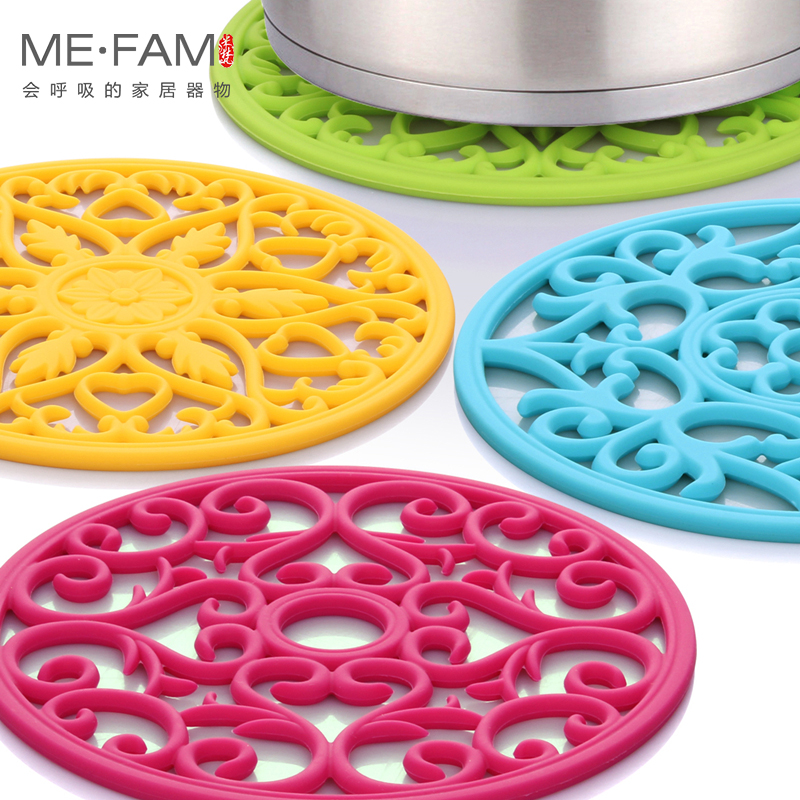 ME.FAM Round Hollow Carved Silicone Pad Non Slip Heat Resistance Placemat Bowl Plate Mats Insulated Durable Desktop Decorate Mat