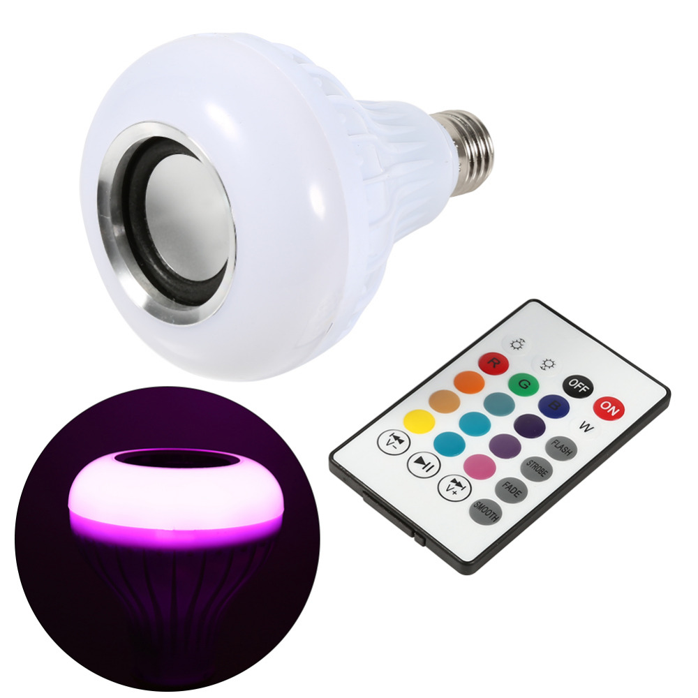 1 Set LED Bulb Music Lamp Bombilla Led E27 12W LED RGB Wireless Bluetooth Light Bulb Speaker Bulb Music Playing Light Lamp smuxi e27 led rgb wireless bluetooth speaker music smart light bulb 15w playing lamp remote control decor for ios android