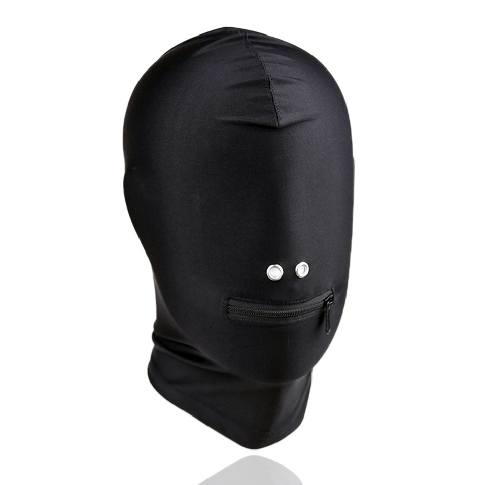camaTech Fetish Hood Open Nostril and Zipper Mask SM Stretchy Breathable Headgear Bondage Slave Role Play Adult Game For Couple