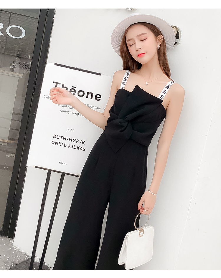 Summer New Sling Bowknot Rompers Womens Jumpsuit Fashion Wide Leg Pants Thin Combinaison Femme Elegant Ol Clothes For Women 13