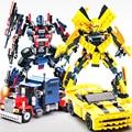 Película original robot transformación optimus prime bumblebee dinosaur king 3d diy legoe compatible bloques de construcción 2 en 1 dw-8711