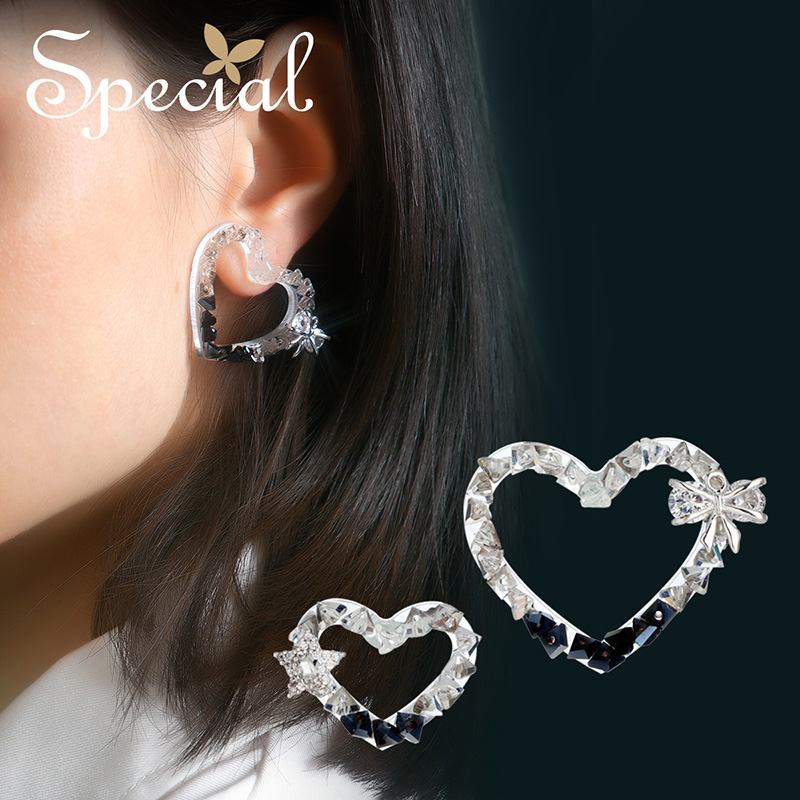 Spécial européen et américain 925 argent aiguille boucles d'oreilles oreille clou oreille aiguille pas d'oreille trou oreille clip sombre et léger - 3